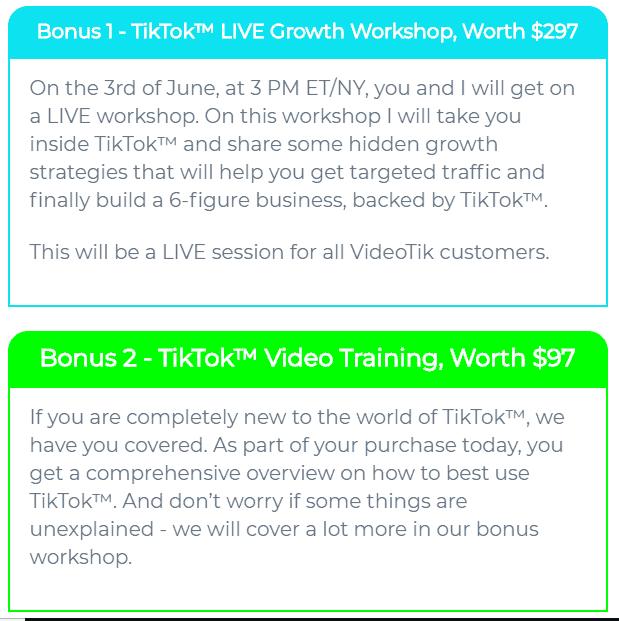 VideoTik Bonus 1, 2