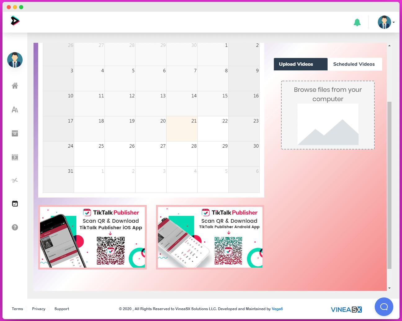VideoTik Review - Schedule feature