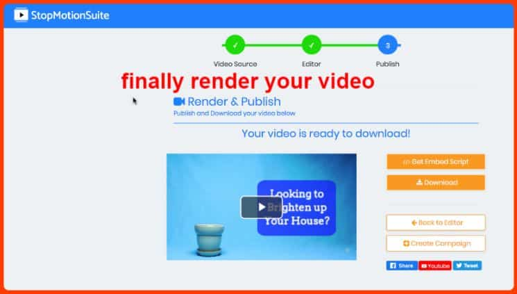 StopMotionSuite Review - Render the video