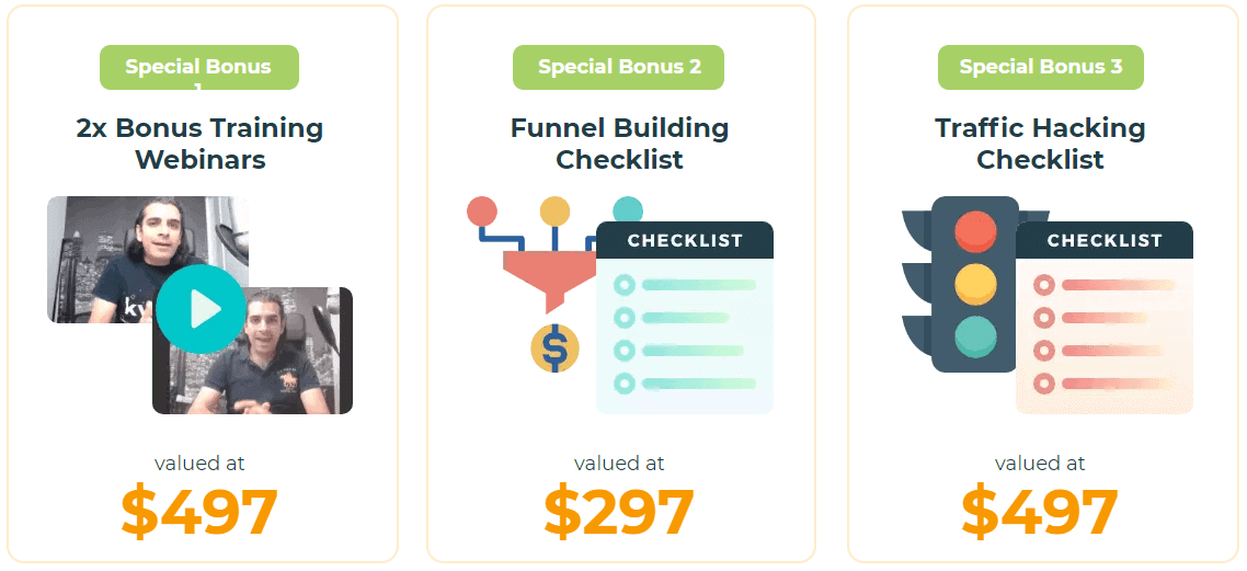 Funnelvio bonuses