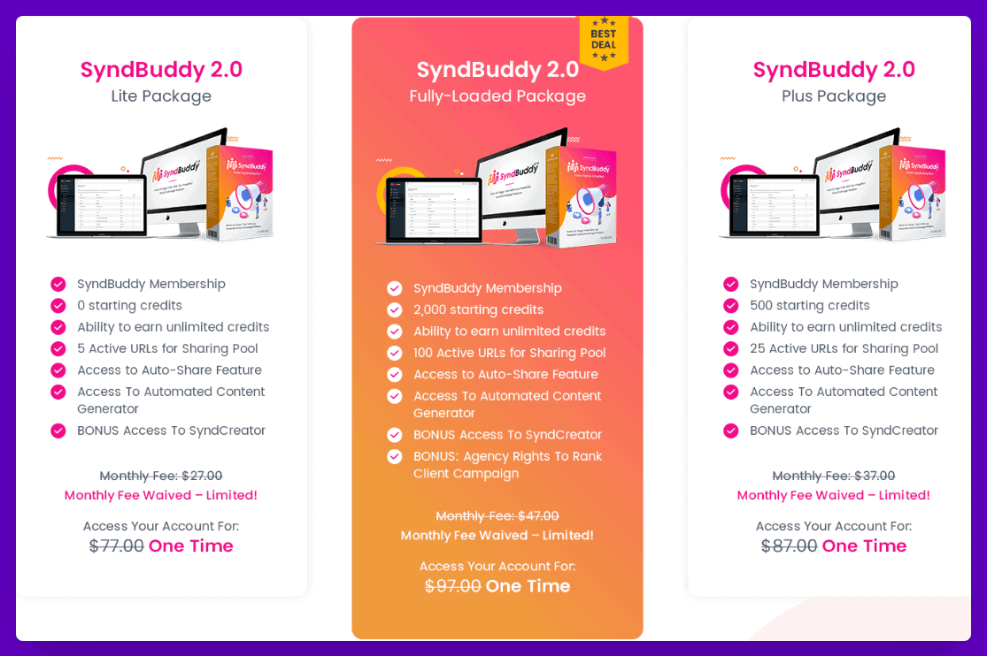SyndBuddy 2.0 Review - Pricing