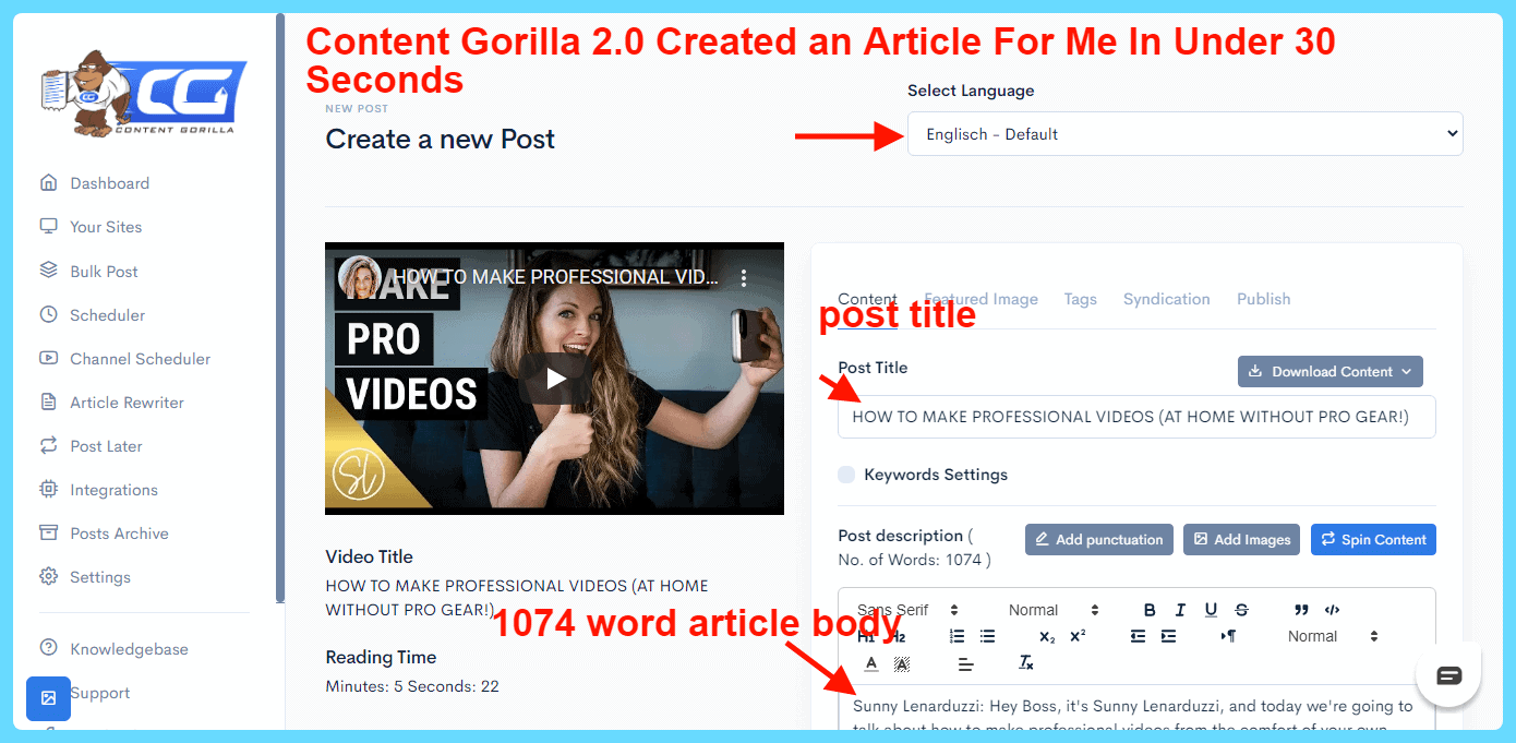 Content Gorilla 2.0 Review - Article Created in 30 Seconds