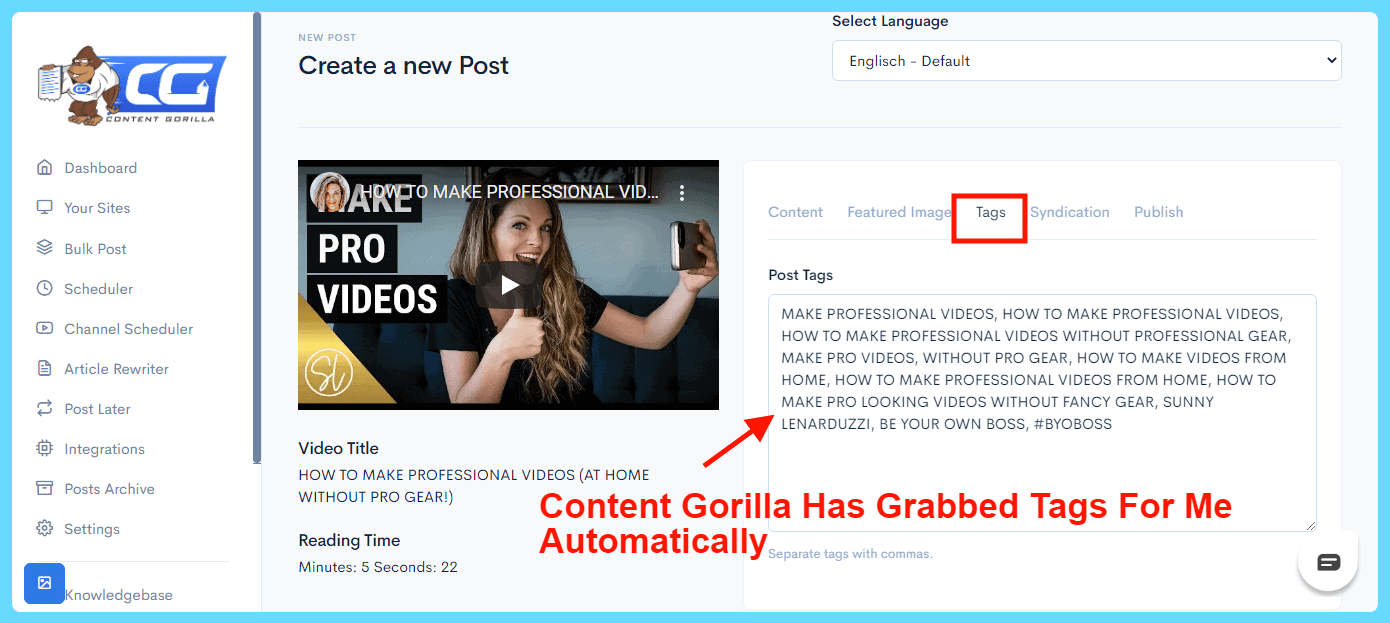 Content Gorilla 2.0 Review - Automated Tags