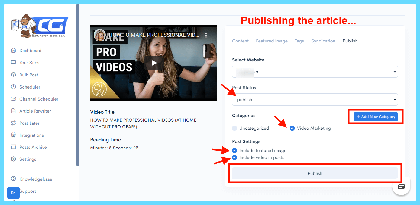 Content Gorilla 2.0 Review - Publishing the article