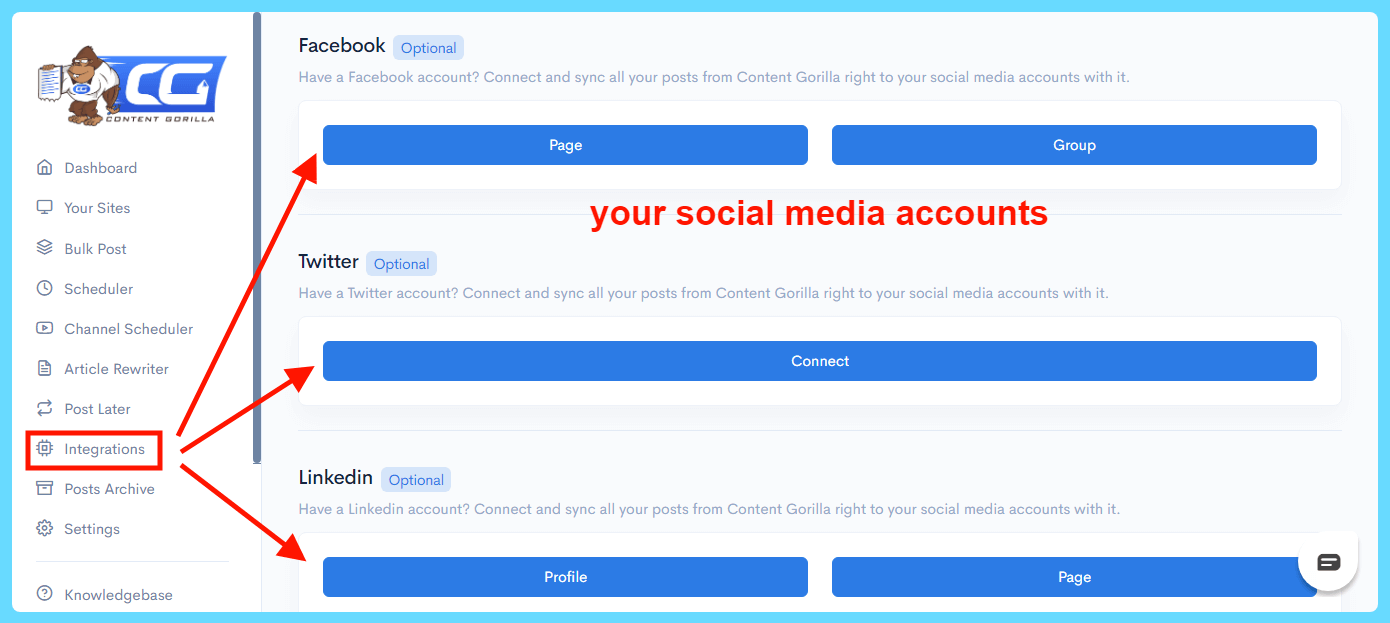 Content Gorilla 2.0 Review - Social accounts