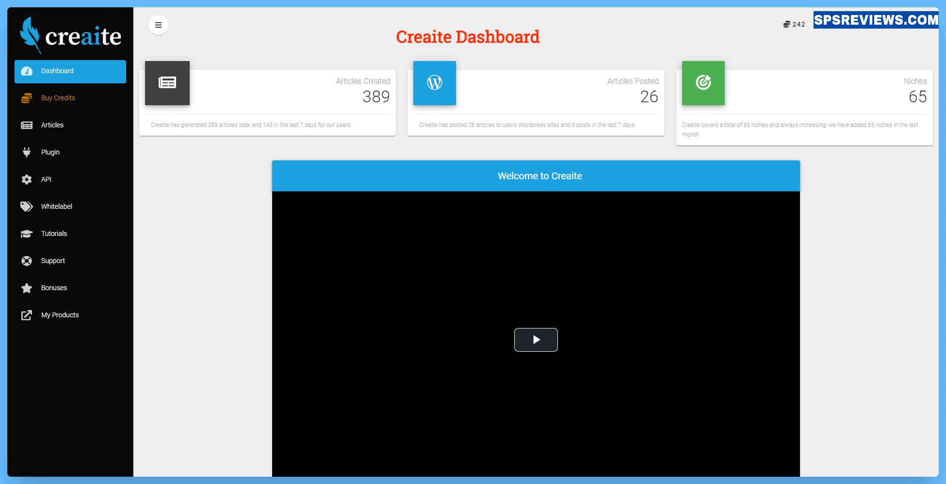 Creaite Review - Dashboard