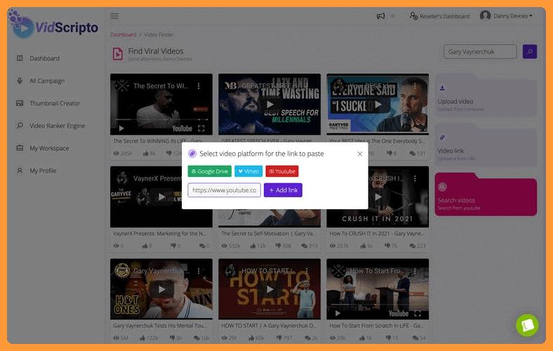 VidScripto review - add/select a video