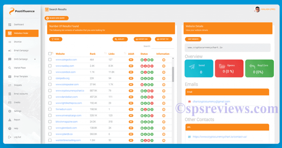 Postifluence Review: The Website Finder Tool