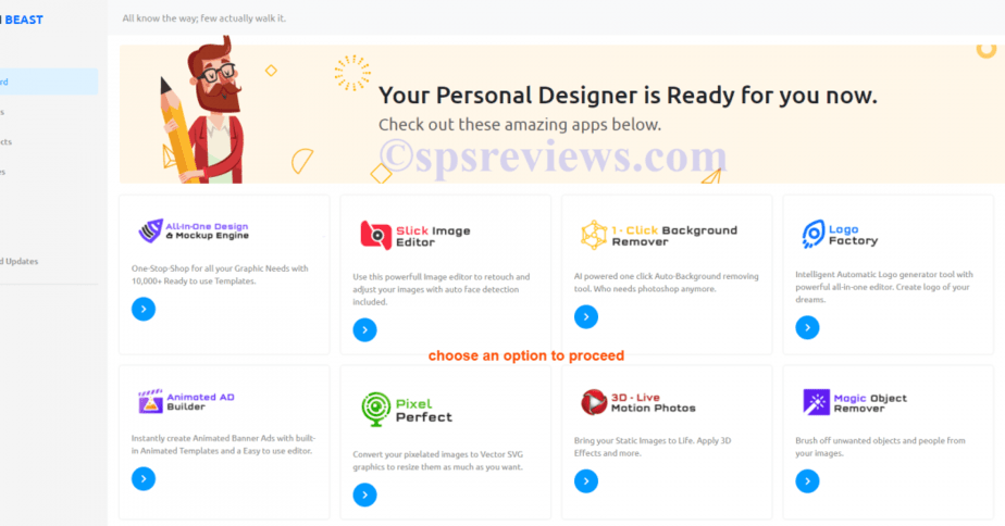 Design Beast Review - choose an app from the list of 6 to start work