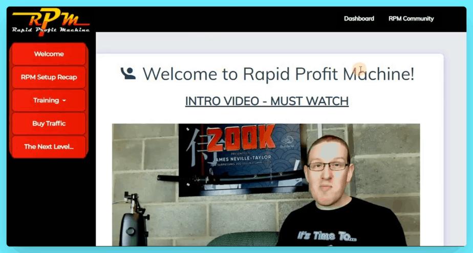 Rapid Profit Machine Review - Member Area View